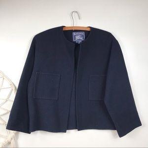Vintage Burberry Navy Wool Jacket